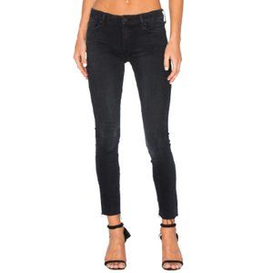 MOTHER High Waist Looker Ankle Fray Jeans in Black